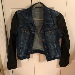 Jackets & Blazers - Jean jacket with faux leather sleeves